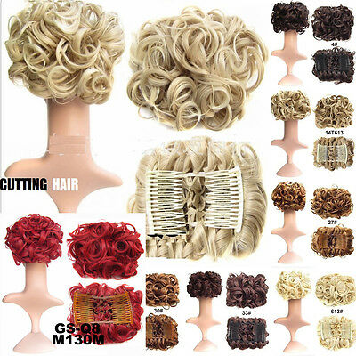 Hairpiece Comb Clip In Wave Curly Chignon Updo Cover Hair Extension Hair Bun