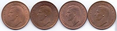 4x PENNY COINS, GEORGE VI PENNIES 1937, 1938, 1939 1940.