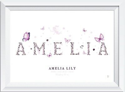 Personalised baby fairy butterfly name LASER SW CRYSTAL PRINT gift christening