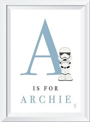 Personalised child baby name LASER print Star Wars inspired gift nursery picture