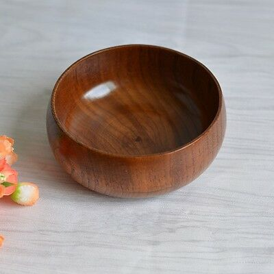 1pc Fruit Soup Storage Bowl Round Wooden Bowl Whole Wood  Environmental Vintage