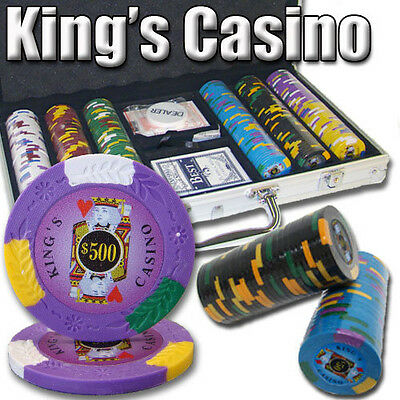NEW 300 PC King's Casino 14 Gram Pro Clay Poker Chips Set Aluminum Case Custom