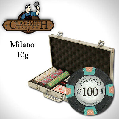 NEW 300 Pc Milano Pure Clay 10 Gram Denomination Poker Chips Set Aluminum Case