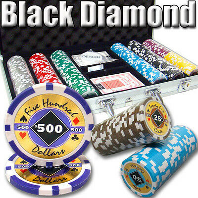 NEW 300 PC Black Diamond 14 Gram Clay Poker Chips Set Aluminum Case Pick Chips