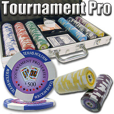 NEW 300 Tournament Pro 11.5 Gram Clay Poker Chips Set Aluminum Case Pick Chips