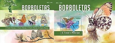Z08 ST15412ab Sao Tome and Principe 2015 Butterflies MNH Set