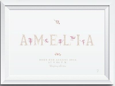 A4 Personalised fairy name print floral christening birth baby nursery bedroom