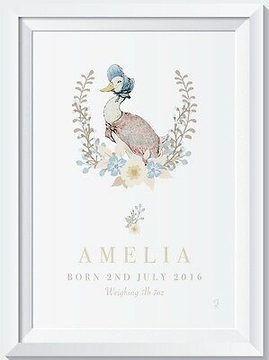 A4 Personalised New Baby Peter Rabbit Name Birth Nursery Print Christening gift