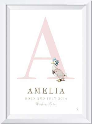 Personalised Baby Peter Rabbit Name Birth Nursery Christening print picture gift