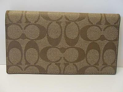 "New Coach PVC Signature Checkbook Cover Khaki and ""Saddle"""