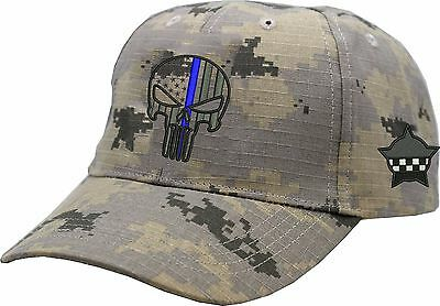 CPD Memorial Punisher Blue Line Camouflage Hat Adjustable