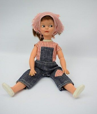 Vintage Pedigree Sindy Patch Doll 1960s Auburn Hair In Dungarees And Headscarf