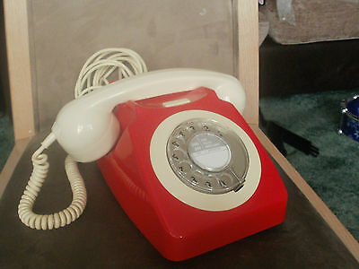 Vintage Gpo 746 Rotary Dial Telephone Red / Ivory