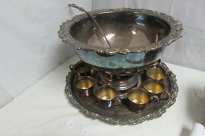 Beautiful Vintage Sheridan Punch Bowl Set With Cups & Tray LOOK!!