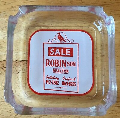 Vtg 1950's Advertising Ashtray Sale ROBINson Realtor Salisbury MD Seaford DE