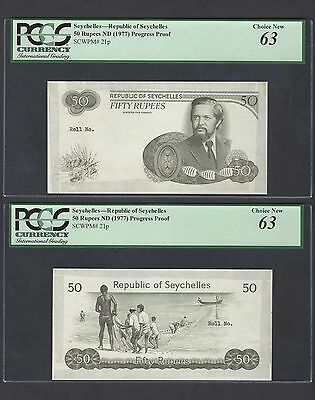 Seychelles Obverse & Reverse 50 Rupees ND(1976) P21p Proof Uncirculated