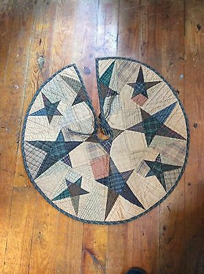 quilted christmas tree skirt, primitive tree skirt, stars, Christmas, tree skirt
