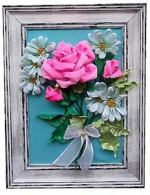 Flowers - Hand Crafted Satin Ribbon Embroidery with Frame