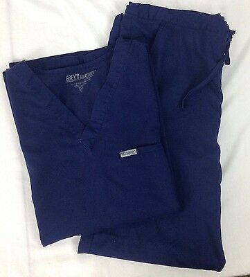 Grey's Anatomy Scrub Set Large Dark Blue Top 7168 Pants 7230