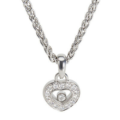 Chopard Diamond Heart Pendant Necklace in 18K White Gold (1/4 CTW)
