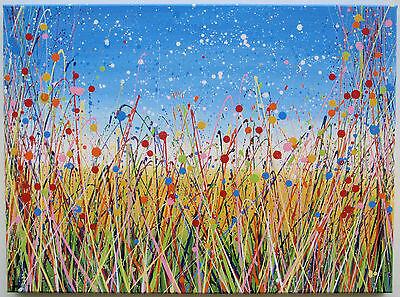 LARGE ABSTRACT MODERN ART LANDSCAPE PAINTING ON CANVAS | Colourful Flower Meadow