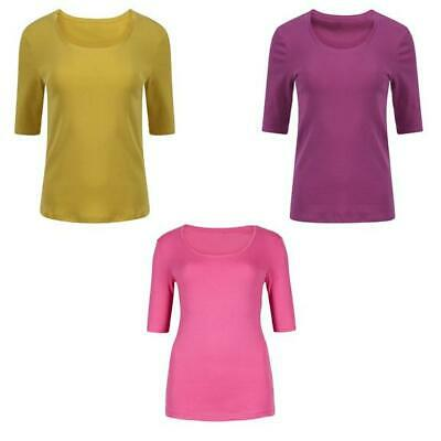 Womens Ladies M&S 100% Pure Cotton Half Sleeve Scoop Neck T/Shirt  8-24
