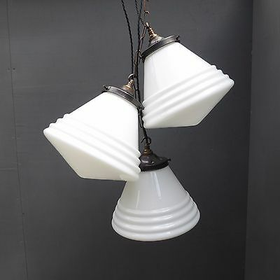 Stunning Antique Vintage Industrial Conical Opaline Glass Pendant Lights Lamps