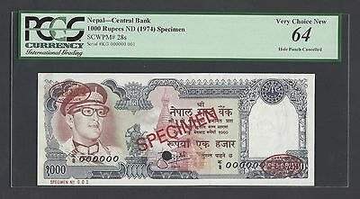 Nepal 1000 Rupees ND(1974) P28s Specimen TDLR N001  Uncirculated