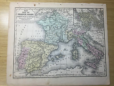 1852 Mitchell's School Atlas FRANCE, SPAIN, PORTUGAL & ITALY, hand colored map