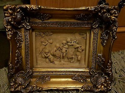 Antique marble wall plaque carving cherubs