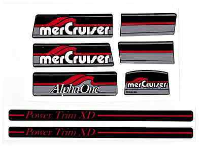 Mercruiser Alpha One Gray Gen I Decal Set With Red Trims