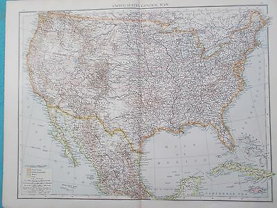 Map of the United States of America. 1895. USA. Times Atlas. Original