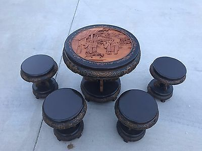 Antique Carved Tea Table with Stools