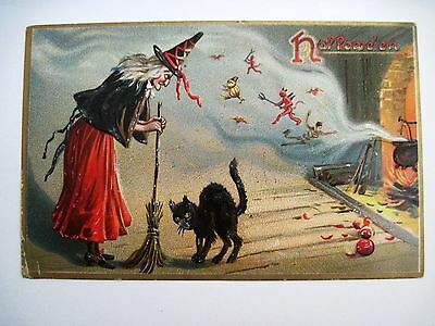 Vintage French Halloween Postcard by Raphael Tuck w/ Witch,Black Cat & Devil *