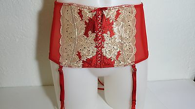 Victoria's Secret Garter Belt Red w/ Gold Lace Size: M/L FREE SHIPPING