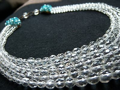 Vtg 1950's Coppola e Toppo Faceted Cut Glass Crystal Bead Necklace 5 Strand Blue