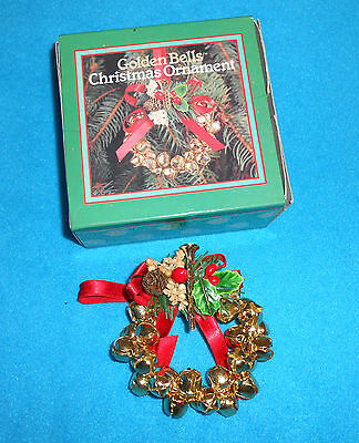 Golden Bells Christmas Wreath Ornament - Excellent Condition in Box