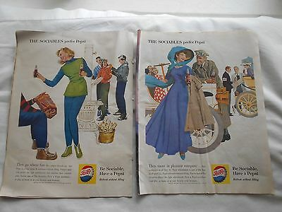 2 X Pepsi Ads-Lge Page-1960-Be Sociable,have A Pepsi-The Sociables Prefer Pepsi
