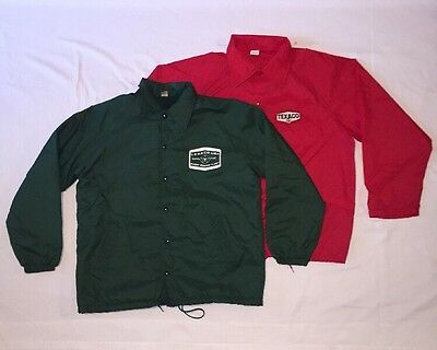 Pair Of Vintage Texaco Jacket Safety Gas Station Service Attendant Red & Green