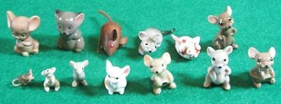 13 Vintage Mice Mouse Figurines Hagen-Renaker + More Ceramic Wood Pin Nice Lot
