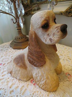 """Sandicast Large Cocker Spaniel Signed 8"""" Tall And 9"""" Long"""