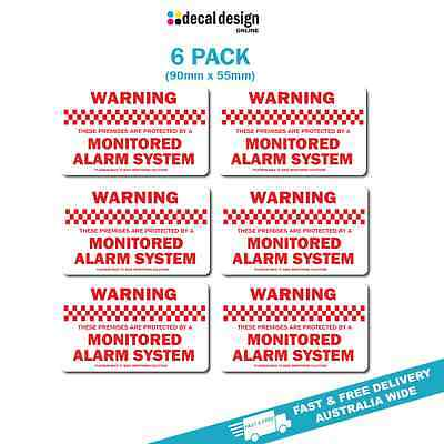 Mointored Security Alarm warning stickers home or office 6 pack decals - Red