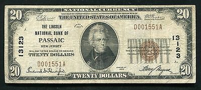 1929 $20 The Lincoln National Bank Of Passaic, Nj National Currency Ch. #13123