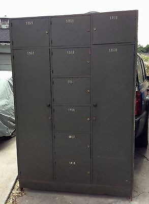 Vintage military green storage locker cabinet wardrobe 2 closets 8 cubbies keys