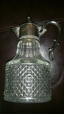 Vintage Diamond Cut Glass and Silver Plated Wine Decanter/ Coffee Carafe