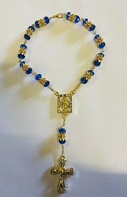 Dark Blue Crystal Glass Religious ROSARY Beads With Crucifix in Gift Box