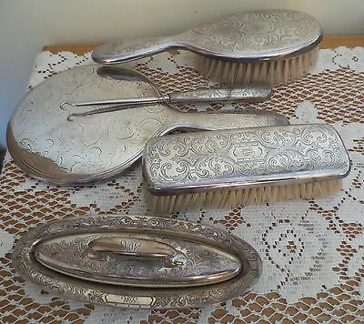 * Tiffany & Co * 6 Pc Sterling Silver Vanity Mirror, Brushes, Hook, Buffer, Tray
