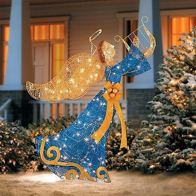 "SALE 54"" Lighted Pre Lit Blue Gold Angel With Harp Outdoor Christmas Decoration"