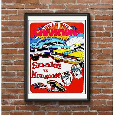 Snake VS Mongoose Drag Racing Poster - Vintage NHRA Funny Cars