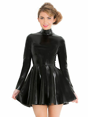 b3e551a384 Honour Women's Skater Mini Dress in Black Rubber Latex with High Neck